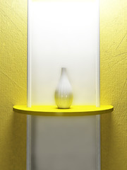 a white vase is standing on the yellow shelf,