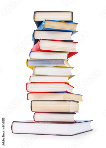 stack of old books on an isolated white background