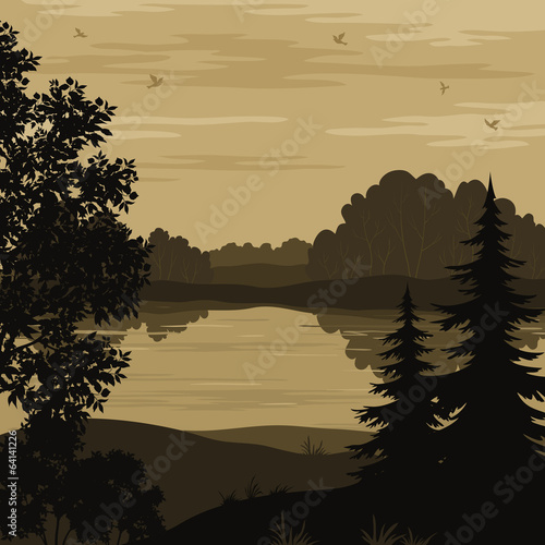Landscape, trees and river silhouette