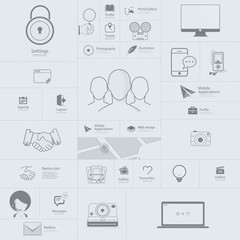 Flat  infographics elements and icons for templates