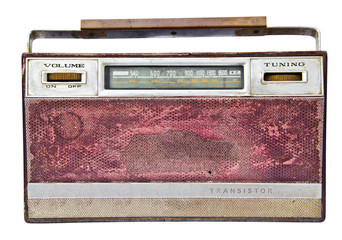 Old radio, isolated on white background