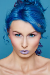 hair, blue, woman