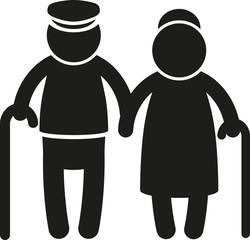 Piktogramm Rentnerpaar mit Stock