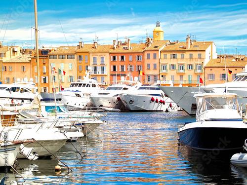 Poster Stad aan het water Yacht Harbor of St.Tropez, France