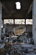 canvas print picture - abandoned factory industrial building