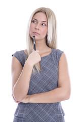 Unzufriedene deprimierte junge Business Frau - freigestellt.