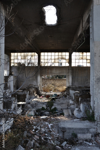 canvas print picture abandoned factory industrial building