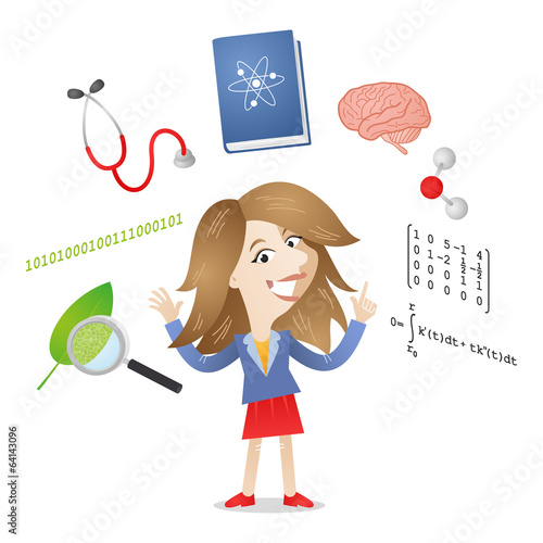 Young student, girl, science, medicine, physics, maths