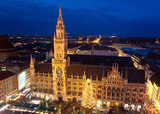 Aerial image of Munich with Christmas Market