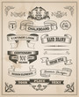 Vintage retro hand drawn banner set - vector illustration - 64143472