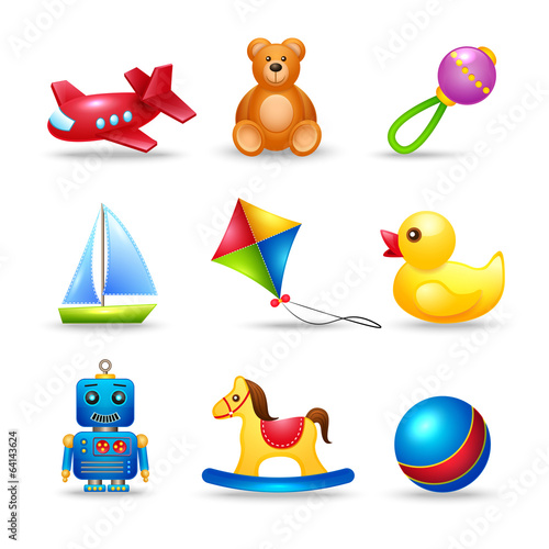 Baby Toys Icons Set - 64143624