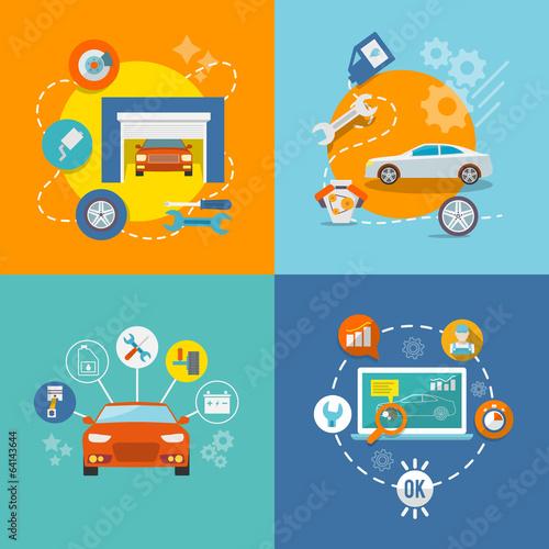 Auto service icon flat - 64143644
