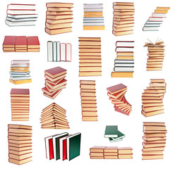 Set a stack of books on white background