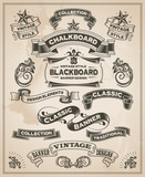 Vintage retro hand drawn banner set - vector illustration - 64144003
