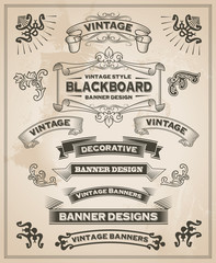 Vintage retro hand drawn banner set - vector illustration
