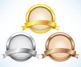 Fototapety Gold, silver and bronze labels with ribbon