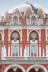 A large dome of the Petroff Palace close up.