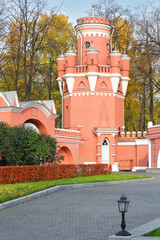 watchtower of red brick Petroff Palace in Moscow