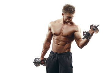 Muscular bodybuilder guy doing exercises with dumbbells isolated