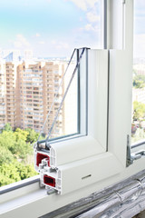 Sample PVC window in a window aperture