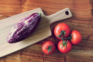 aubergine and tomatoes