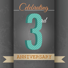 3rd Anniversary poster/template design in retro style-Vector