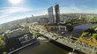 View from unmanned quadrocopter to cityscape