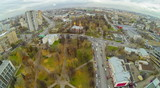 Area with park and church, view from unmanned quadrocopter. poster
