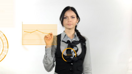 Business woman pushing on whiteboard