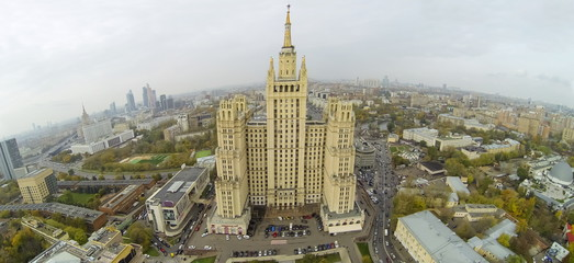 Aerial view of old beautiful skyscraper