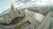View from unmanned quadrocopter to famous skyscrape and bridge