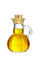 Kleine Karaffe aus Glas mit Olivenöl isoliert
