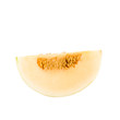 Sliced Cantaloupe isolated on white background with clipping pat