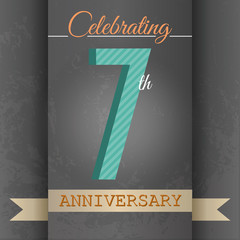 7th Anniversary poster/template design in retro style-Vector