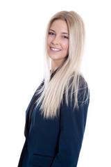 Lächelnde blonde Business Frau isoliert auf Weiß