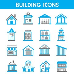 building icons, map elements blue icons