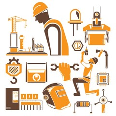 construction icons, mechanical tools, orange icons
