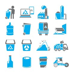 garbage icons, blue icons