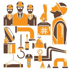 engineering set, orange icons