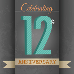 12th Anniversary poster/template design in retro style-Vector