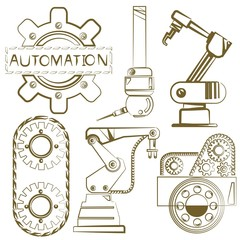 robotic set, engineering icons, mechanical tools