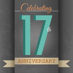 17th Anniversary poster/template design in retro style-Vector