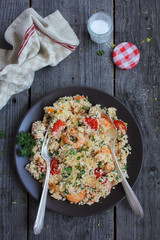 Cauliflower couscous with roated cherry tomatoes