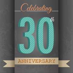 30th Anniversary poster/template design in retro style-Vector
