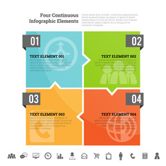 Four Continuous Infographic Elements