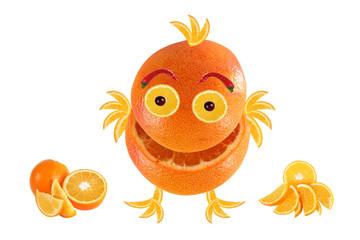 Little funny laughing orange, like chicken, standing near Orange