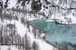 Winter lake in Swiss Alps