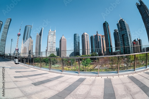 shanghai financial center by fisheye view