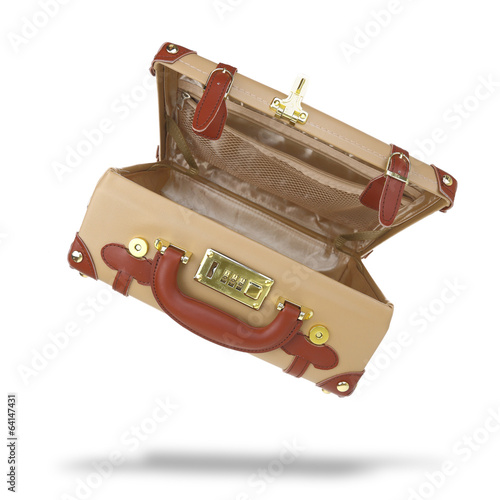 Open empty brown suitcase isolated on white