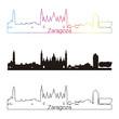 Zaragoza skyline linear style with rainbow
